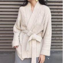 Belt Cardigan Womens V-Neck Long Sleeve Knitwear Female 2019 Autumn Winter New Warm Sweater Fashion Elegant Tops Sweater Coat
