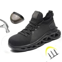 safety shoes men breathable mesh lace up rubber sole steel toe anti smashing puncture proof indestructible work boots size 39 46
