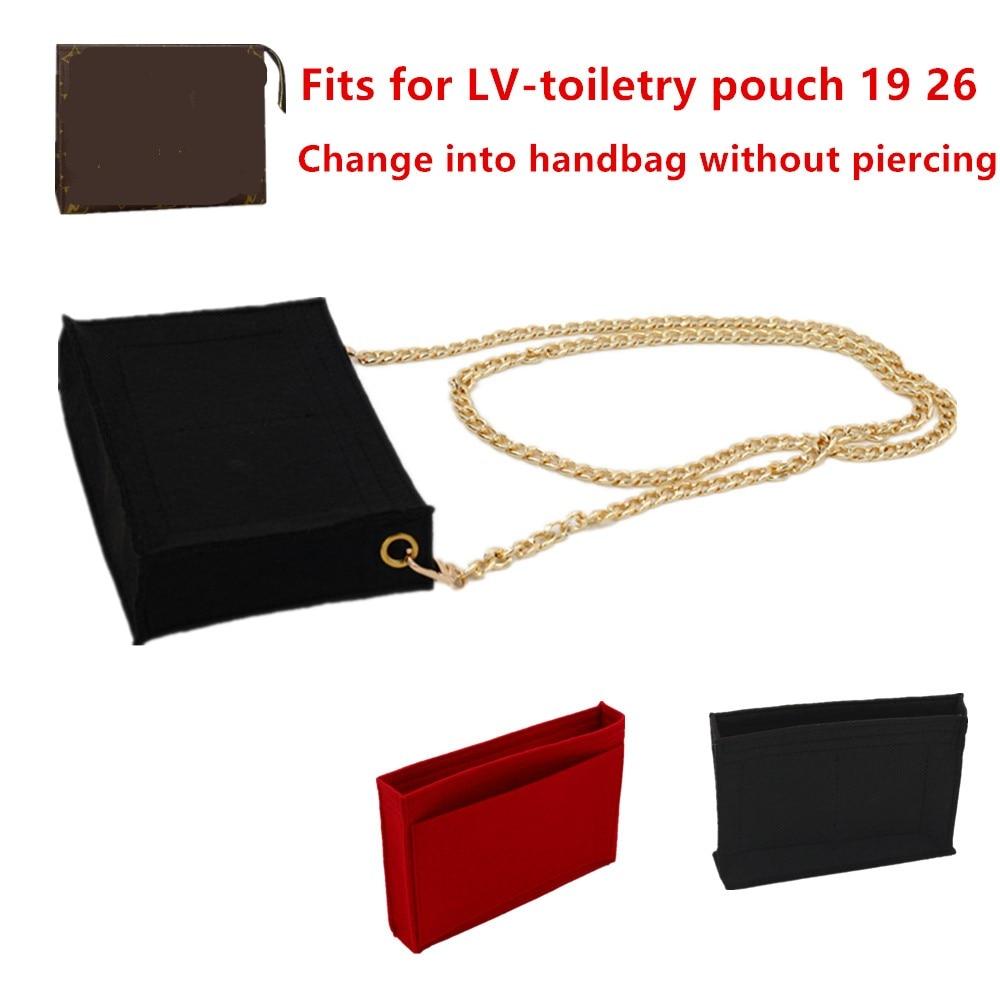 Change toiletry pouch 19 26  bag purse insert Organizer Makeup Handbag travel organizer Inner Purse Cosmetic bag base shaper