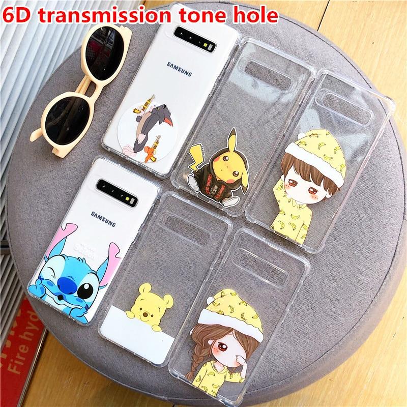 Anti-Knock Winnie Stitch Soft Case For Samsung Galaxy A50 A70 S8 S9 S10 Plus A40 A10 Note 10 Plus 8 A7 2018 6D Tone Hole Cover