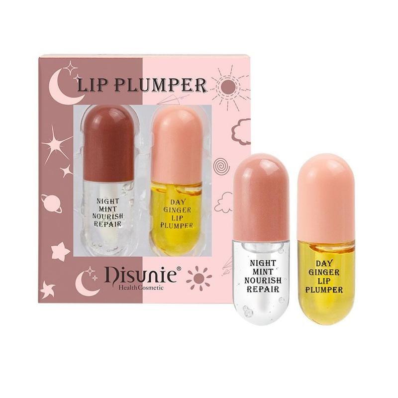 Day Night Instant Volume Lip Plumper Oil Vitamine E Moisturizing Repairing Reduce Lip Fine Line Cosmetic Sexy Lip Plump Enhancer
