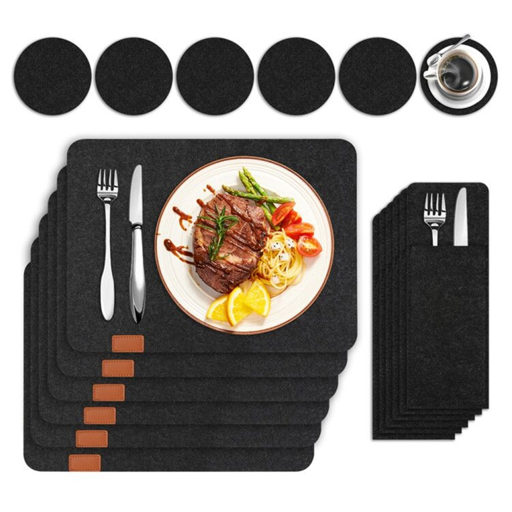 18Pcs Anti-Slip Natural Felt Placemats Set For Dining Table Heat Insulated Washable Coaster Kitchen Cutlery Storage Bag Felt Pad
