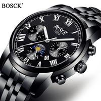 Часы наручные BOSCK Мужские кварцевые, роскошные спортивные классические водонепроницаемые с браслетом из нержавеющей стали, с автоматическ...