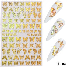 1 Vel Holloween Nail Stickers 3D Lijm Goud Zilver Vlinder Nagel Folie Nail Art Stickers Nail Transfer Tattoos Decals Meisjes