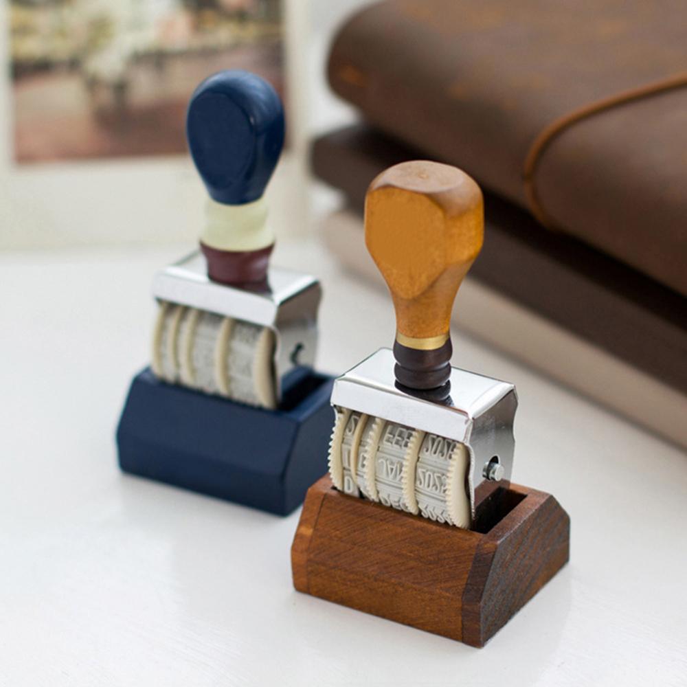 Sello de fecha de madera Retro Para DIY Scrapbooking álbum de fotos arte decoración regalo calcomanía Material mango de madera fecha DIY sello