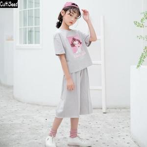 Cultiseed Big Girls Summer Sets Clothing New Fashion Children Cute Girls Print T-Shirt+Wide Leg Pant 2pc Set Suit Kids Sets