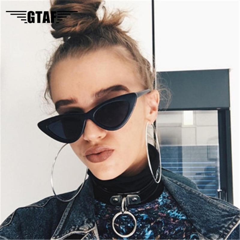 2020 Cute Sexy Retro Cat Eye Sunglasses Women Small Black Transparent Pink Triangle Vintage Cheap Su