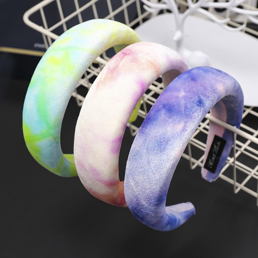 Fashion Women Tie-Dye Thick Sponge Headband Hair Hoop Headwear Accessory Gift
