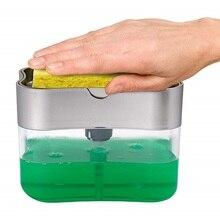 2-en-1 éponge support savon distributeur Double couche savon pompe éponge Caddy salle de bains cuisine organisateur ménage nettoyage accessoires