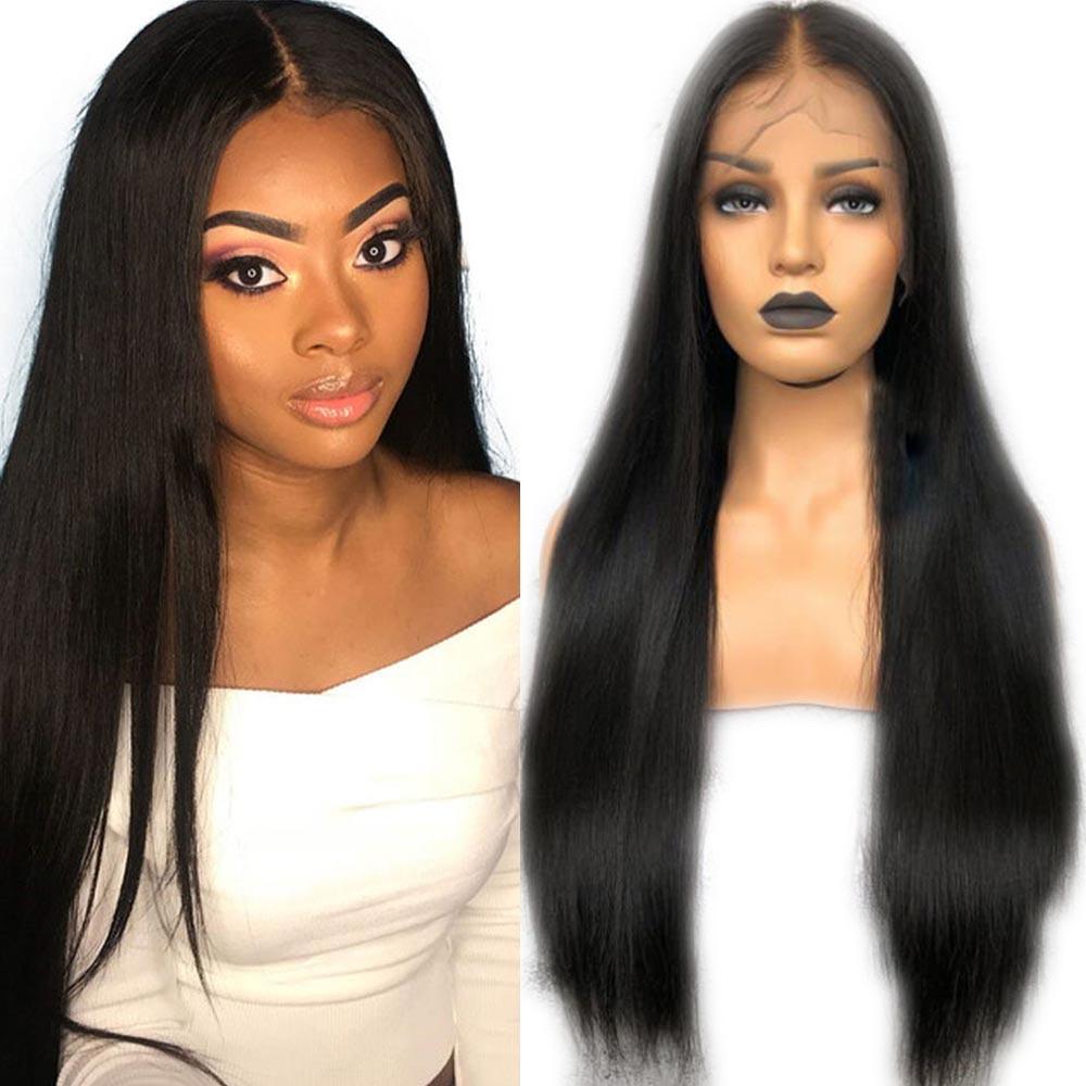 Pelucas de cabello humano sin pegamento de Eversilky con pelo de bebé Pre desplumado para mujeres negras cabello Remy peruano peluca superior de seda recta