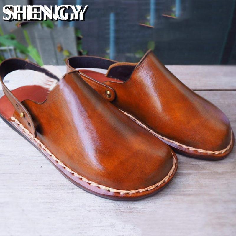 2020 clássico verão homens sandálias de couro qualidade respirável masculino chinelos de praia ao ar livre macio sapatos confortáveis homens sandálias de praia