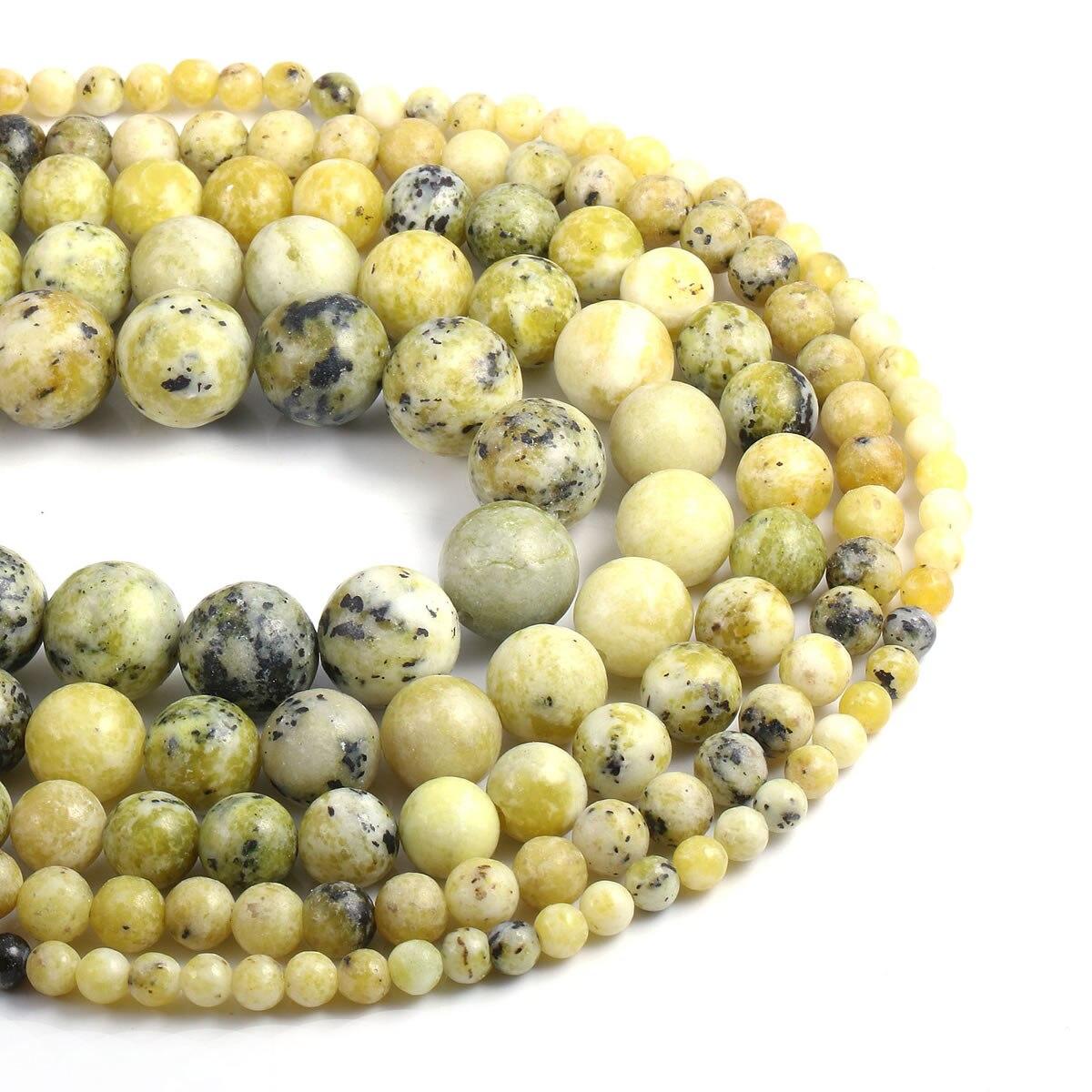 Moda natural pedra amarelo turquesa contas redondas grânulos soltos para fazer jóias diy colar tornozeleira pulseira acessórios