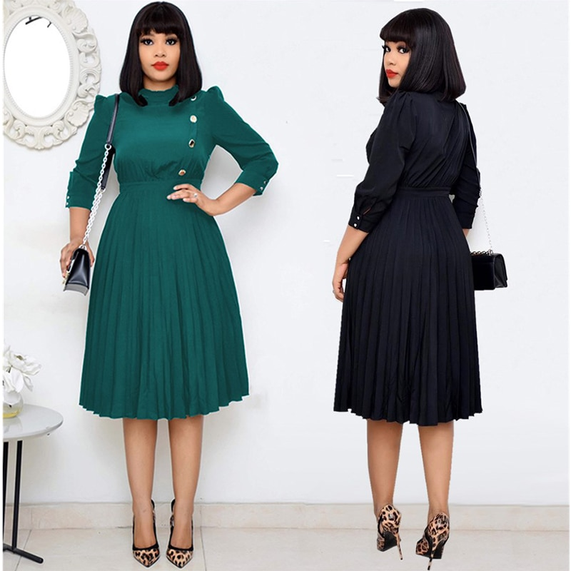 فستان نسائي مطوي فستان الشمس كم طويل لون سادة أزرار ملابس نسائية ملابس أنثوية غير رسمية موضة ربيع خريف 2021