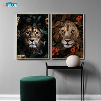 Цветок животное, Лев, Тигр Леопард медведь Абстрактная живопись на холсте, настенная живопись искусство скандинавский Принт плакат декорат...