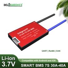 Умный BMS 7S 30A 40A 60A UART 485 Bluetooth 3,7 V Номинальная литий ионная батарея PCB электрический скутер Мониторинг батареи