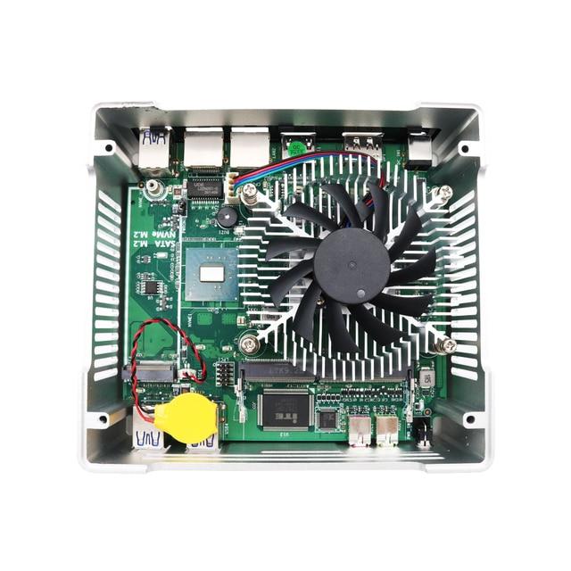 Fan Mini Pc Intel Core i7 1065G7 i5 1035G4 Iris Graphics 940 2*DDR4 2*M.2 NVME HDMI DP 4K Windows10 Pro Linux Desktop Computer 8