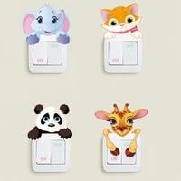cute animals switch stickers elephant cat panda giraffe mural art kids room diy decorative pvc 3d wall decal switch stickers