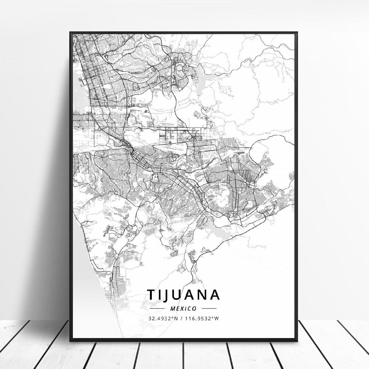 Tijuana acapulco aguascalientes durango morelia cancun méxico mapa poster