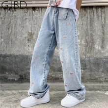 Women's Jeans 2021 New Vintage Embroidery Streetwear High Waist Wide Leg Pants Y2k Baggy Washed Hara
