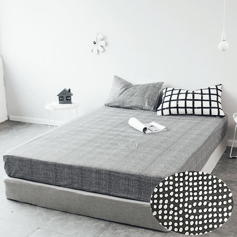 LAGMTA 1 قطعة 100% القطن الأسود و الأبيض شرشف غطاء فراش أربعة زوايا مع مرونة الفرقة السرير ورقة