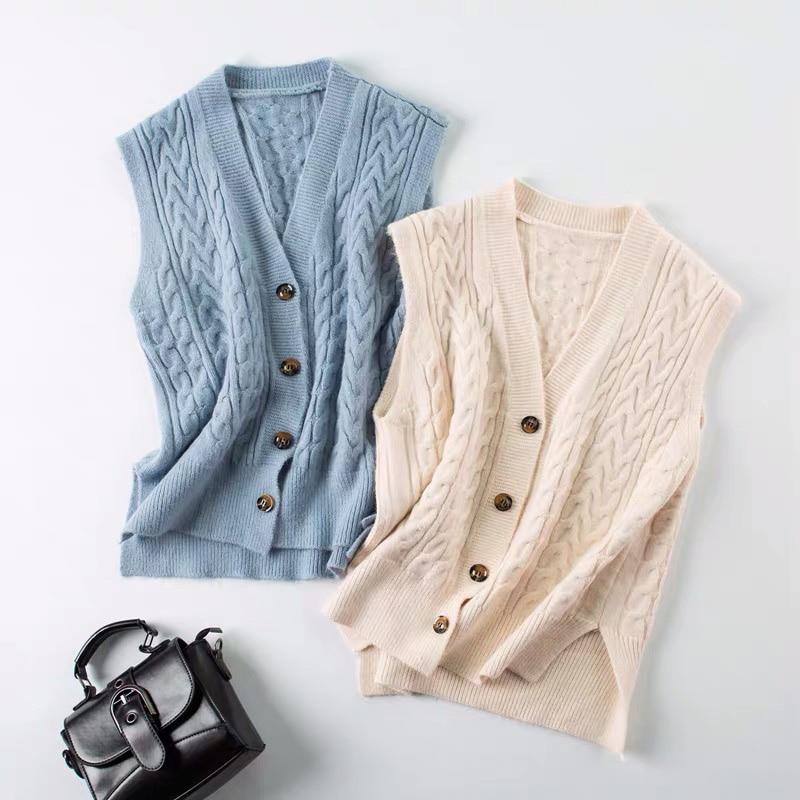 Knitted Sweater Vest Women V Neck Sleeveless Cardigan Knit Jumper Soild Korean Sweet Style Outwear 2021 New Autumn Winter Tops