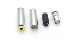 Silver 2.5mm 4 Pole Female jack Connector Audio Soldering connector New