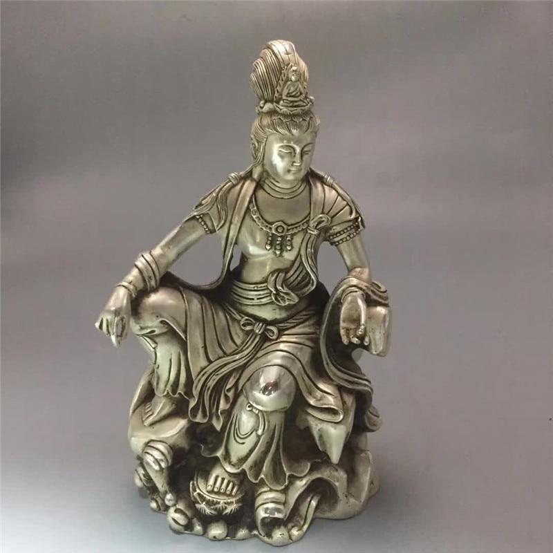 Estatua de Buda tallada en bronce chino Avalokitesvara Guanyin kwan-yin, regalo de decoración para el hogar Fengshui