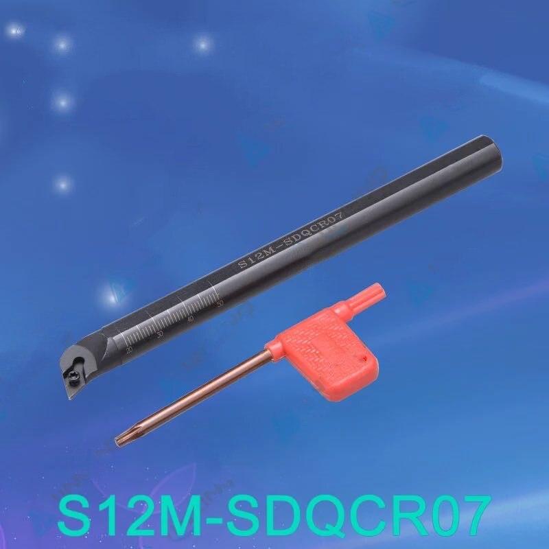 1 pièces S12M-SDQCR07 tour outil tour cnc porte-outil intérieur alésage barre S12M-SDQCR07