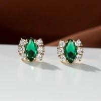 unique emerald marquise cut zircon earrings for women luxury oval green gemstone stud earrings anniversary party jewelry s925