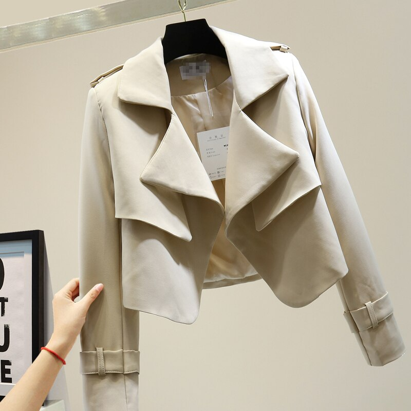 Chaqueta caqui recortada para mujer, abrigo corto para mujer, otoño 2020, estilo coreano, ajustado, informal, de señora, temperamento corto, chaquetas negras combinables