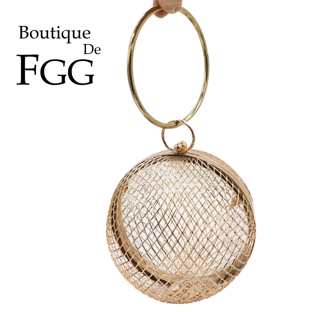 Boutique De FGG Aushöhlen Frauen Runde Metall Clutches Hard Case Abend Taschen Armbänder Handtaschen und Geldbörsen Kette Schulter Tasche