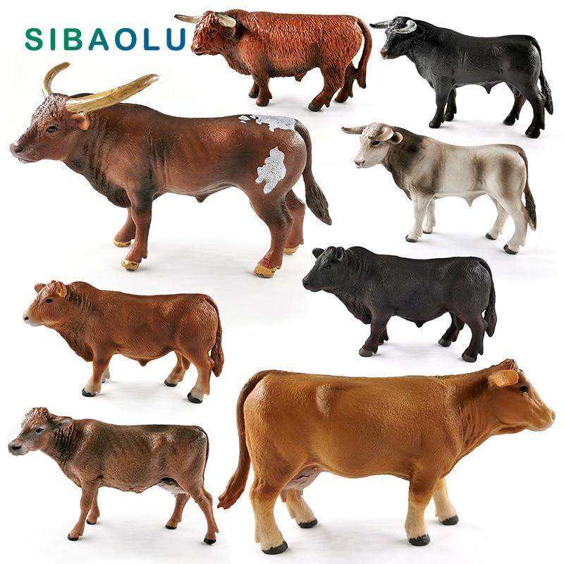 Nueva figura de simulación de toro buey y vaca grande, modelo de Granja de animales, decoración del hogar, figura en miniatura para decoración de jardín, accesorios modernos