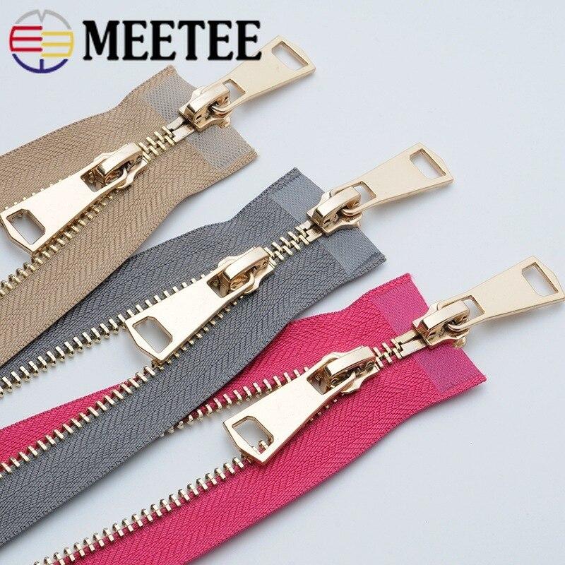 Meetee 5 #120 см золотые металлические молнии Двойные открытые Слайдеры для шитья пальто куртки на молнии Одежда домашний текстиль инструменты аксессуары