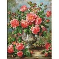 PDMDOG     peinture de diamant 5D  mosaique de fleurs carrees  perceuse Rose  image en strass  broderie  decor de maison  bricolage