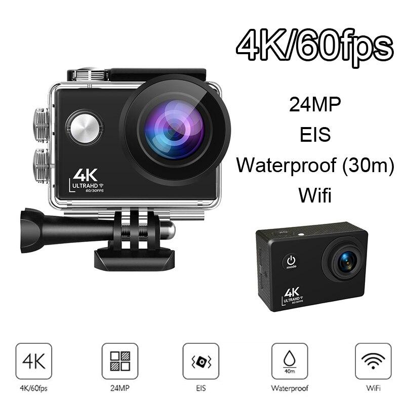 واي فاي عمل كاميرا الترا HD 4K 60fps 24MP 2.0 بوصة IPS الشاشة مع 170 واسعة الملاك كاميرا مقاومة للماء كاميرا رياضية كاميرا فيديو