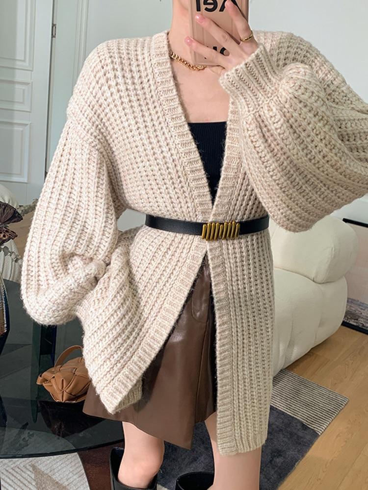 Womens Loose Fit Knitted Cardigan Sweater Lantern Sleeve V Neck Office Lady Solid Color Knitted Cardigan Coat enlarge