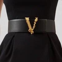 fashion v letter cowhide wide waist seal decorative coat leather belt womens fur wide belt
