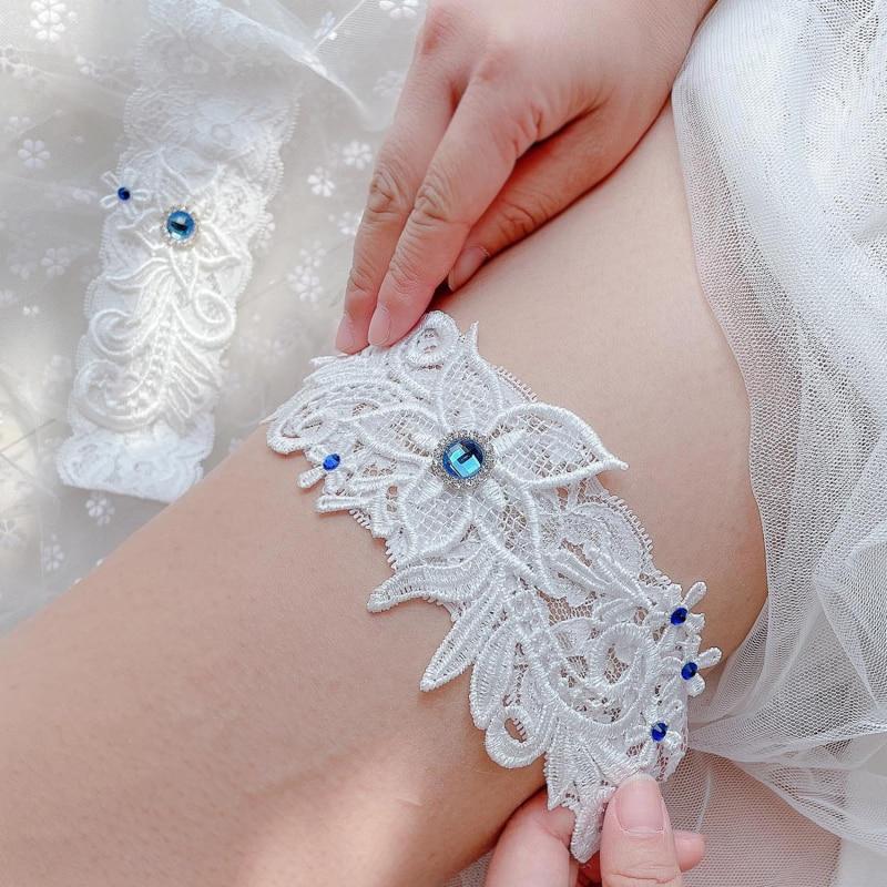 Elegant Bridal Garter Blue Gemstone Elastic Lace Garter Sexy Thigh Ring Prom Cosplay Bridesmaid Dres