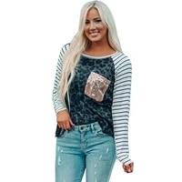 autumn fashion loose casual print long sleeved stripe round neck ladies shirts feminino top feminino top lc2511388