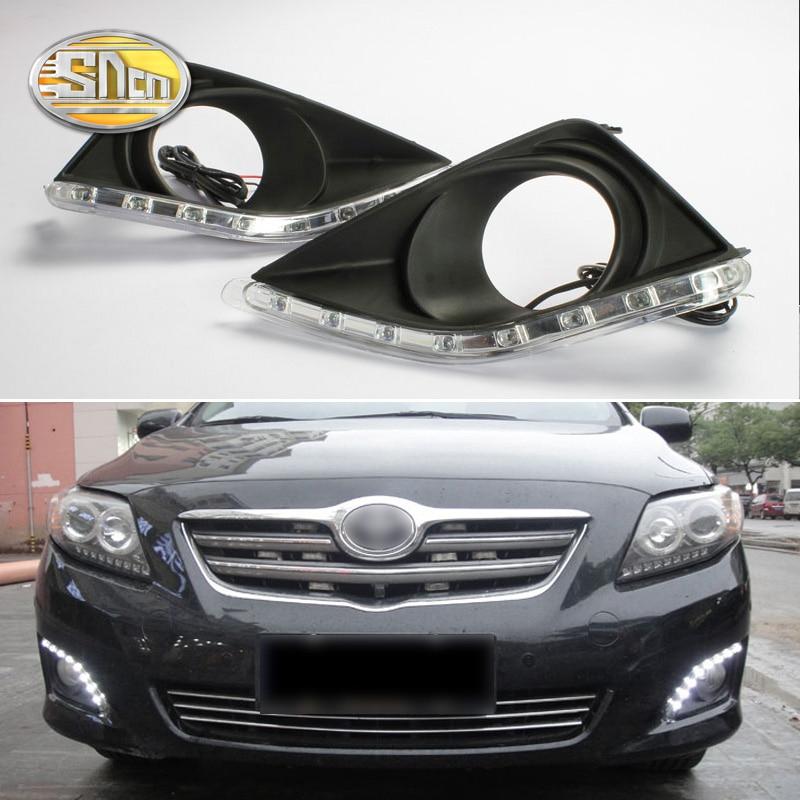 SNCN 2 uds luz LED de conducción diurna para Toyota Corolla 2007 - 2010 accesorios de coche impermeable ABS 12V DRL decoración de la lámpara de niebla