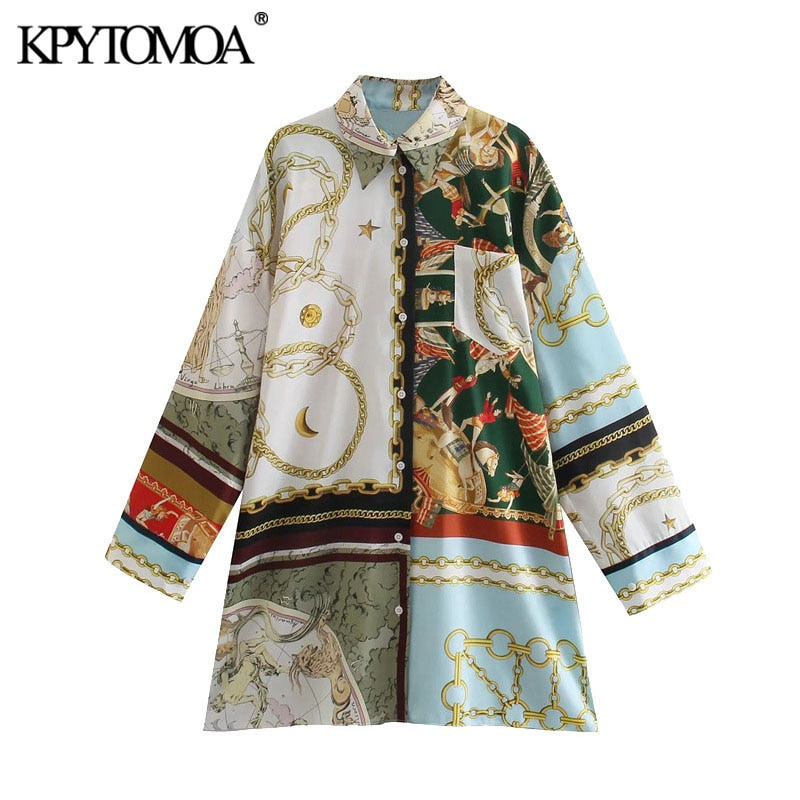 KPYTOMOA Women 2021 Fashion Oversized Patchwork Chain Print Blouse Vintage Long Sleeve Button-up Female Shirts Blusas Chic Tops