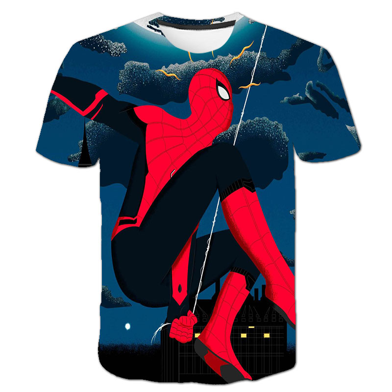 Mαrvel- Spidermαn T Shirt Kids Boys Clothes Summer Short Sleeve Girls Tops Tees Children Clothing Kid Girl Tshirts 4 To 14 Years