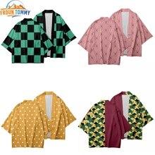 2019 Anime Kimono démon Slayer Kimetsu no Yaiba nouveau design japon Kimono Haori Yukata Cosplay femmes/hommes dété vêtements décontractés