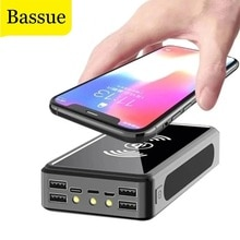 50000mAh Solar Wireless Power Bank Portable Phone Fast Charging External Charger 4 USB PoverBank LED