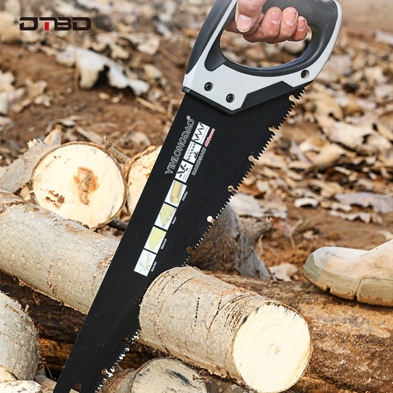 Scie à main à lame extra longue robuste pour le camping, scie d'élagage en bois bricolage avec dents dures, outils de jardinage