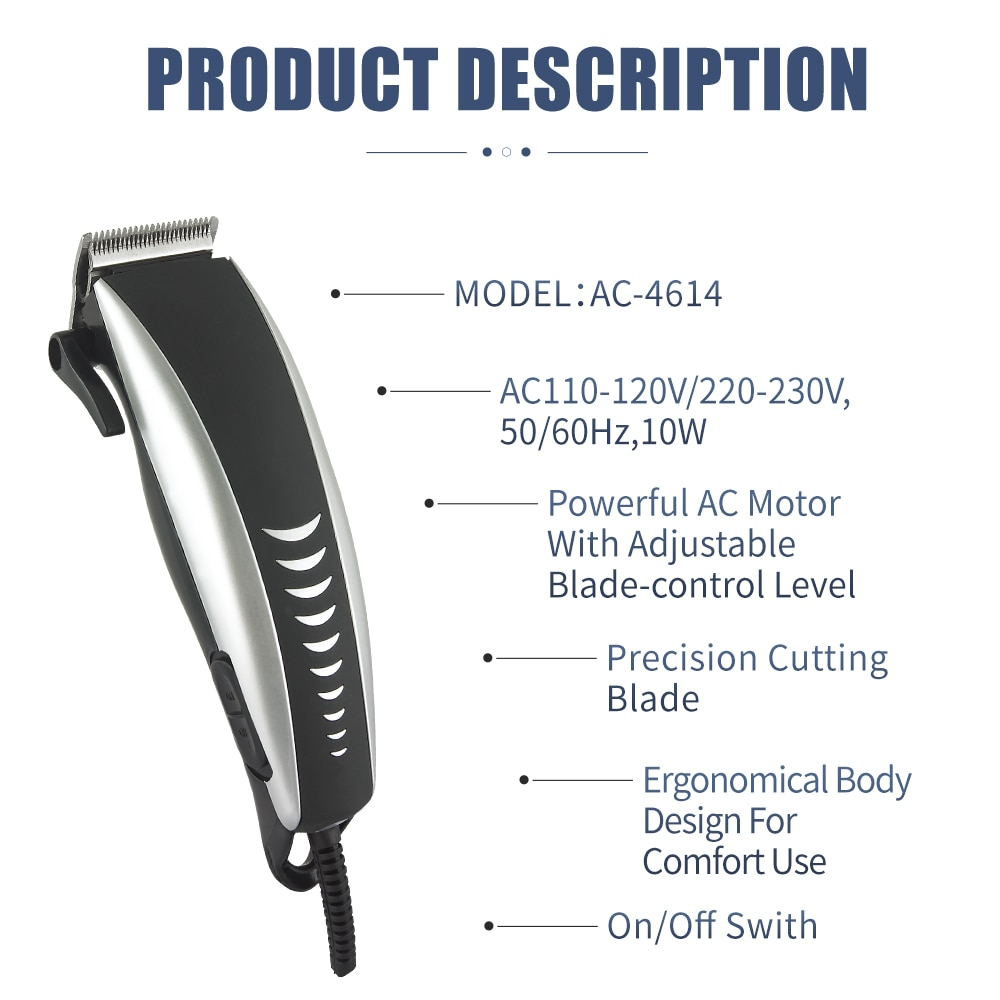 corded hair clipper machine wired hair clipper hair cutting machine for barbershop electric 220V hair clippers men professional enlarge
