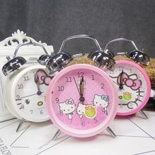 Reloj despertador silencioso clásico con luz de dibujos animados Doraemon Hello relojes de gatitos campana de Metal reloj ruidoso luz de noche decoración para el hogar
