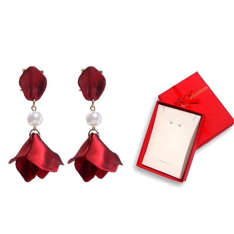 Flatfoosie nuevos pendientes de gota de flor mate para mujer regalo de Navidad declaración perla pendiente con forma de pétalo con Cajas de Regalo joyería de moda