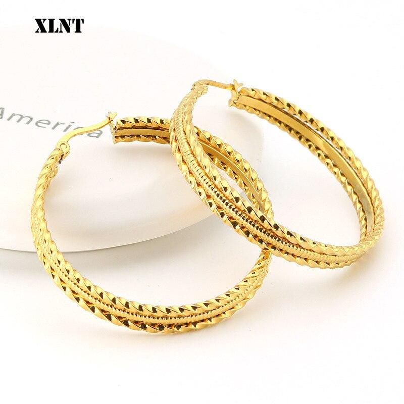 Xlnt 2019 novo minimalista ouro metal grande círculo geométrico redondo grande hoop brincos para mulheres menina festa de casamento jóias
