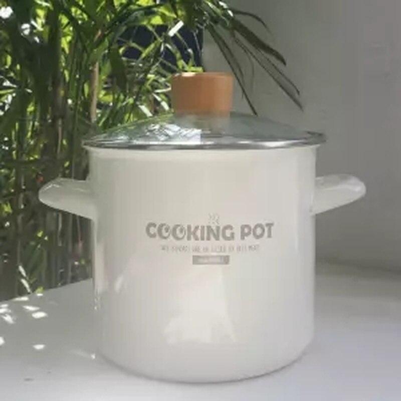 18 سنتيمتر المينا وعاء سميكة صغيرة عالية وعاء 2.9L الحساء وعاء مع غطاء لإرسال البلاستيك غطاء يمكن المبردة ووك Ollas دي Cocina الساخن